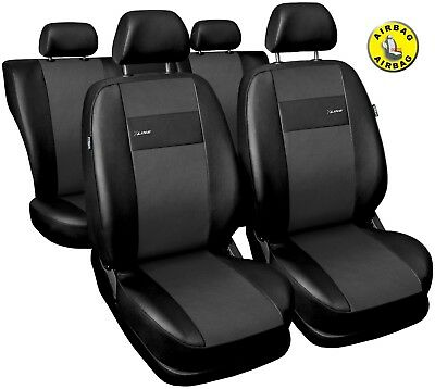 Car seat covers fit  Hyundai Accent black/grey  leatherette full set