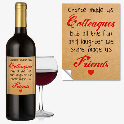 WINE BOTTLE LABEL FRIENDSHIP OCCASION GIFT Funny Work Colleague Office #1045