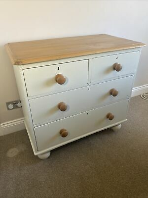 Victorian Pine Chest Of Drawers--4 Drawer --Painted Farrow & Ball Railings