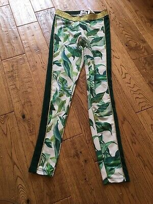 Girls leggings size 13-14 years Michelle Morin green leaves gold trim  H&M