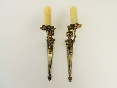 Pair French Antique Bronze Wall Light Sconces Hanging Fixtures 19 Century