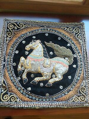 Antique Hand EMBROIDERED INDIAN ZARDOZI DECORATIVE Pillows Cover with Horse