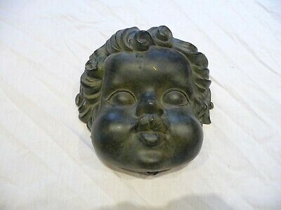 Vintage Large Blacked Cherub Face Wall Hanging Mount Decorative Hardware Cute !