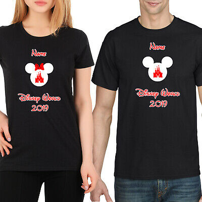 Personalised Minnie/Mickey Mouse Disney World Vacation T-Shirt Florida/Paris Blk