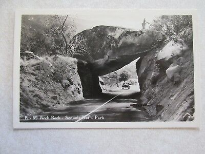 f37 Postcard Arch Rock Sequoia National Park RPPC old car on road
