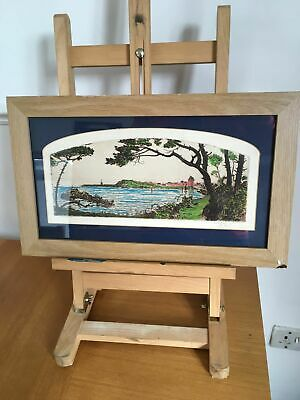 Original Ink Sketch Drawing Painting Sea Riverbank Scene Trees Framed Signed