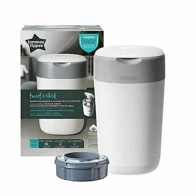 Tommee Tippee Twist and Click Sangenic Advanced Nappy Disposal Bin System, White