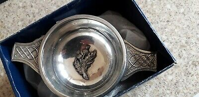 7cm pewter  Quaich. sheffield mint . thistle  embossed in bowl Ideal Gift