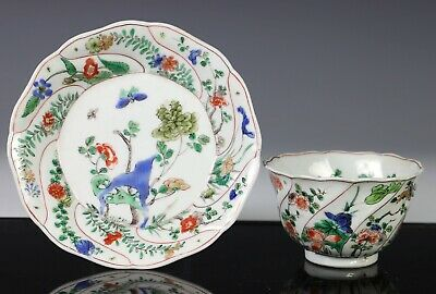 Antique Chinese Famille Verte Porcelain Cup and Saucer - Kangxi Period