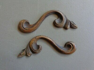 """Vtg Trim Pieces Furniture Architectural Wood Carved Matching Pair 5-1/2"""" L  #7"""