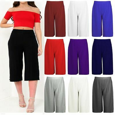 WOMEN,S LADIES 3//4 LENGTH SHORT PALAZZO TROUSERS CASUAL  WIDE LEG CULOTTES PANTS