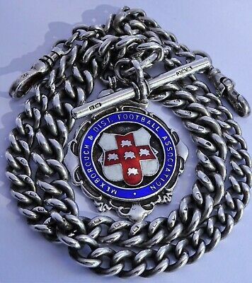 Superb antique heavy solid silver double pocket watch albert chain & silver fob