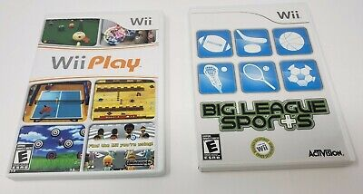 Nintendo Wii Game Lot Of 2 Big League Sports, Wii Play Complete with manuals
