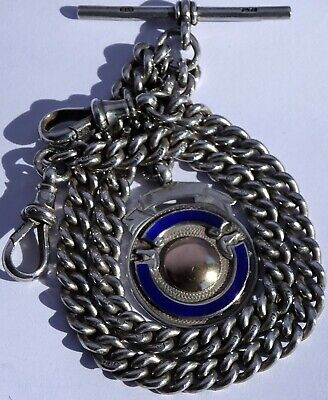 Amazing antique heavy solid silver double pocket watch albert chain & silver fob