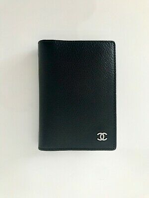 574bccb4dbe074 AUTH BNIB CHANEL Grained Calfskin leather Black flap card ID holder small  wallet
