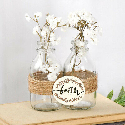 """Two Bottle Vases wrapped together with Jute. """"Faith"""" sign. NEW"""