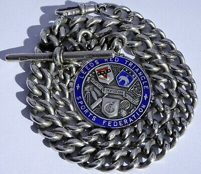 Superb antique heavy solid sterling silver pocket watch albert chain & fob