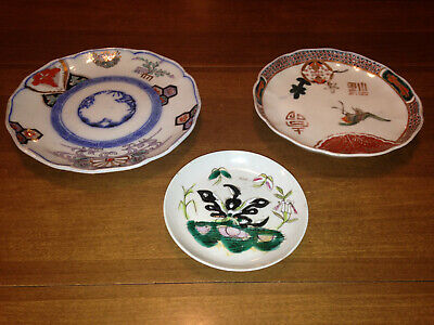"Lot Of 3 Antique Unique Japanese Imari Non-Symmetrical Design Motif Plates 8"" 7"""