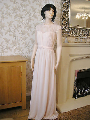 10 Tall Little Mistress Nude Sheer Lace Maxi Dress 20'S 30'S Vintage Gatsby