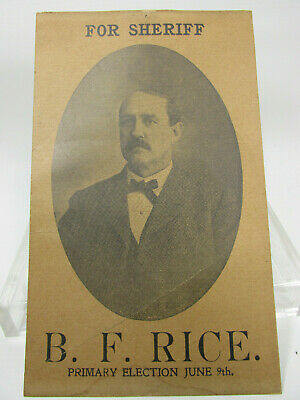 BF RICE for Sheriff Antique Election Card Columbia County PA 1910s Pennsylvania