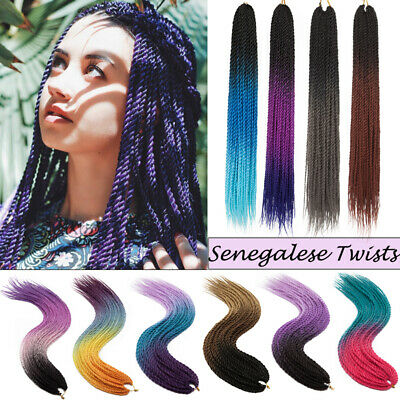 """24"""" 110G Synthetic Senegal Twist Braiding Hair Sew In Hair Extensions Omber HG86"""