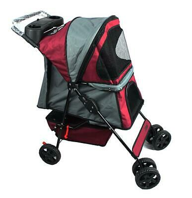 Jespet Four Wheel Pet Stroller, for Cat, Dog and More Foldable Strolling Cart