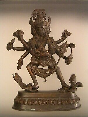 Antique Chinese Bronze Tibetan Wrathful Deity Statue Figure 3 Headed Estate
