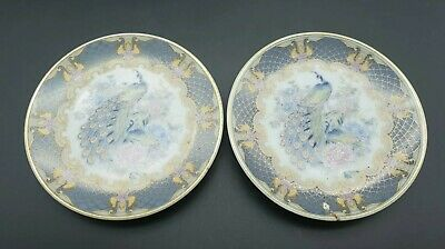 Vintage Japanese Oriental Peacock Design Saucers / Pin Dishes Stunning Design