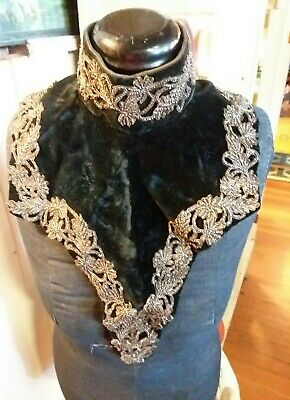 vintage victorian collar ,gothic high neck , metal beaded velvet