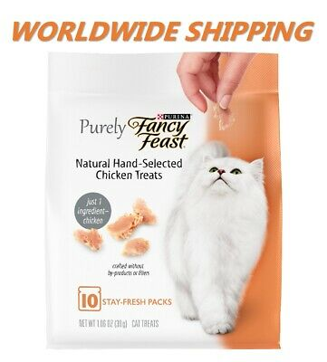 Purina Purely Fancy Feast Hand-Flaked Chicken Cat Treats 10 Ct WORLD SHIPPING