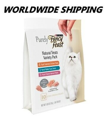 Purina Purely Fancy Feast Variety Pack Cat Treats 10 Ct WORLDWIDE SHIPPING