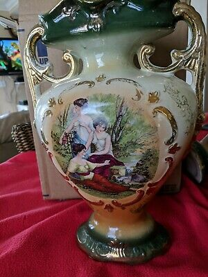 "Antique NEW VICTOR Ceramic Porcelain Hand painted Vase  Urn 14"" vintage"