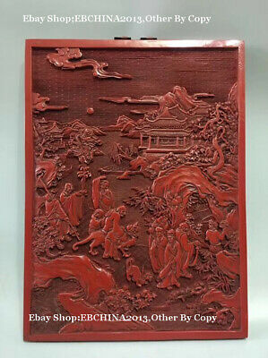 """15"""" Collect China Lacquer Ware Wood People Scenery Relief Painting Wall Hanging"""