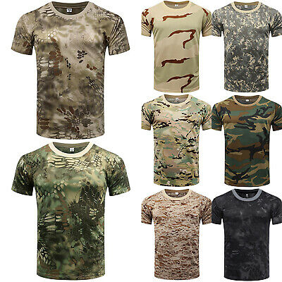 Mens Tactical Military Camouflage Camo T Shirt Summer Top Tee Army Combat Beach