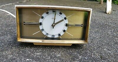 Vintage 1960's Metamec Electric Alarm Clock (Black White and Gilt)