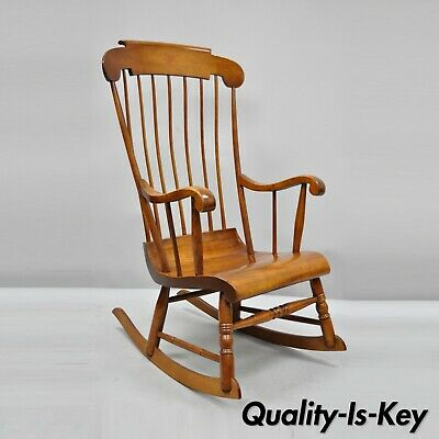 Vintage Nichols & Stone Cherry Wood Spindle Back Colonial Rocker Rocking Chair