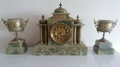 Antique Ornate Onyx Domed Mantle Clock, With Two Garnitures. In Good Working Ord