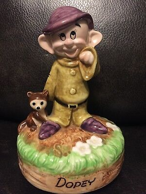Vintage Disney DOPEY Snow White Schmid Music Box Ceramic-Try To Remember 🎼
