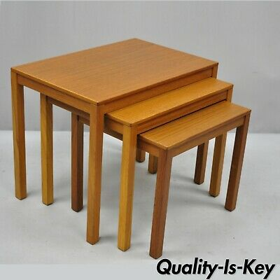 Mid Century Danish Modern Teak Nesting Stacking Side Tables by Bent Silberg