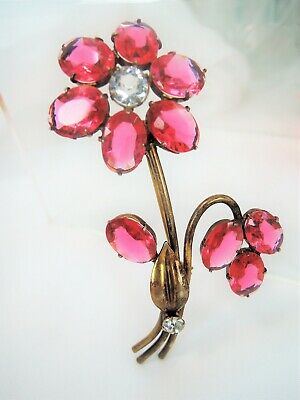 VINTAGE 1940's OPEN BACK PINK & CLEAR GLASS*RHINESTONE STERLING FLORAL BROOCH!