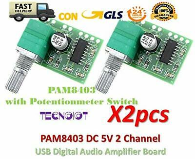 TECNOIOT 2pcs PAM8403 5V 2 Channel Digital Audio Amplifier with Potentionmeter