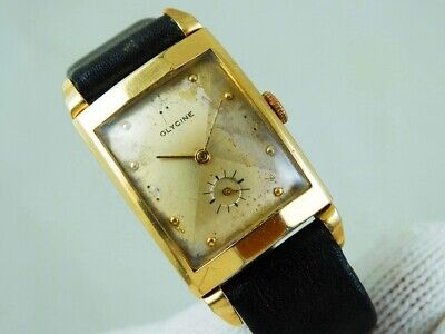 GLYCINE Vintage Art Deco Fancy Lugs 10k Gold F. Vintage Swiss Mens Tank Watch