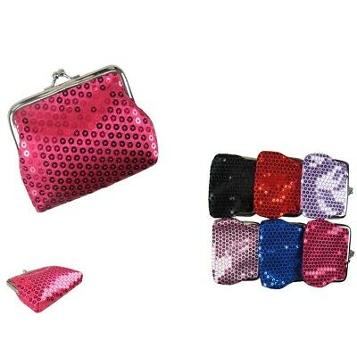 6pcs Sequin kiss lock Clutch Wallet Coin Change Small Case Bag Purse Pouch Lots