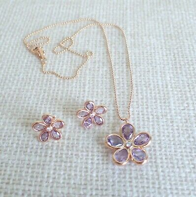 f6a0fc66e Tiffany & Co Necklace Earring Set Rose Gold Amethyst & Diamond Flower ' Sparklers