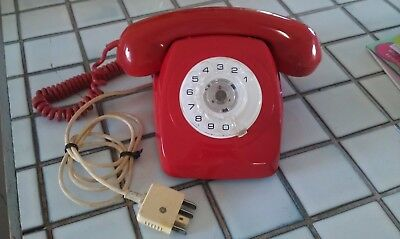 vintage bright red telephone