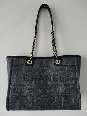 1531f4ce2cf7 NWT Authentic CHANEL 2018 Charcoal Deauville Shopping Tote Handbag Classic  Large