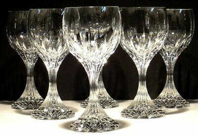 "6 Baccarat Crystal Massena Water Glasses 7"" ~ Signed"