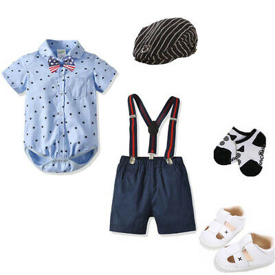Baby boys wedding birthday Tuxedo bodysuit boys  jumpsuit gentleman photo props