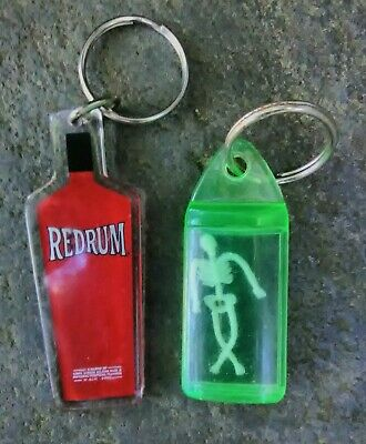 Vintage Florescent Green Encased Skeleton & Redrum Keychains Monster Keychain