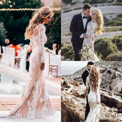 7bc5e5e318f2 Gothic Champagne Mermaid Wedding Dresses Bridal Gown Modest Long Sleeve  Country